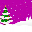 Christmas snowy scene — Vector de stock