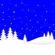 A winter vector background illustration with white trees on snow — Stock Vector