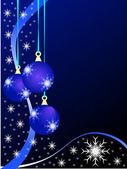 Fondo de adornos de navidad azul — Vector de stock