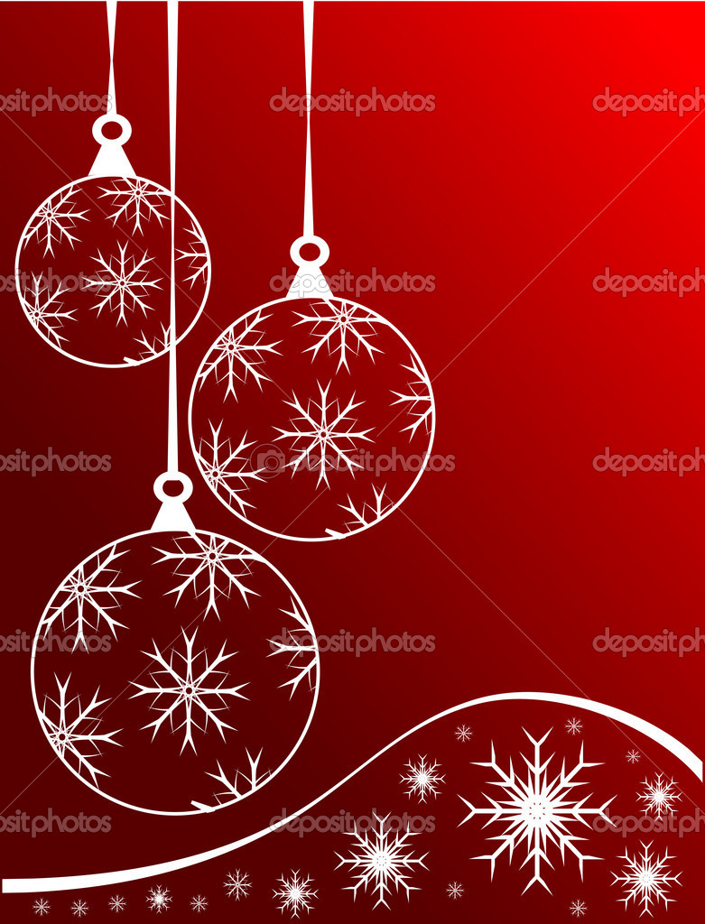 An abstract Christmas vector illustration with clear white outline baubles on a darker backdrop with white snowflakes and room for text — Imagens vectoriais em stock #4387050