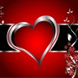 A red hearts Valentines Day Background with silver hearts and fl — Cтоковый вектор