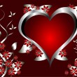 A red hearts Valentines Day Background with silver hearts and fl — Stock Vector