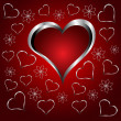 A red hearts Valentines Day Background with silver hearts and fl — Vettoriali Stock