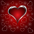 A red hearts Valentines Day Background with silver hearts and fl — Stockvektor
