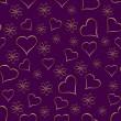 eine goldene Herzen nahtlose Valentinstag Hintergrund — Stockvektor