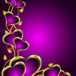 Purple and Gold Hearts Valentines Background — Image vectorielle