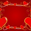 A red Valentines hearts vector background — Stock Vector
