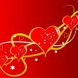 A red Valentines hearts vector background — Image vectorielle