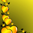 A gold Valentines hearts vector background — Stock Vector