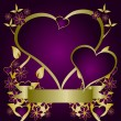 A purple and gold Valentines  vector background — Векторная иллюстрация