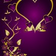 Stock Vector: A purple and gold Valentines vector background
