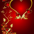 A red and gold Valentines vector background — Vector de stock