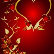 Stockvektor : A red and gold Valentines vector background
