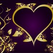 A purple and gold Valentines  vector background — 图库矢量图片