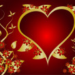 A red and gold Valentines vector background — ストックベクタ
