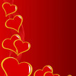 A red Valentines hearts vector background — 图库矢量图片