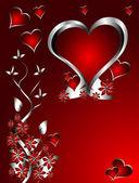 Un rojo corazones fondo de día de san valentín con corazones plata y fl — Vector de stock