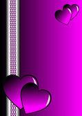 Een paarse en zilveren valentines kaart — Stockvector