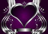 Silver Hearts Valentines Vector Illustration — Stock Vector