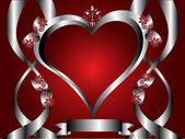 En röd hjärtan alla hjärtans dag bakgrund — Stockvektor