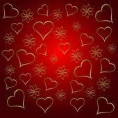 金のハート バレンタインデーの背景 — ストックベクタ