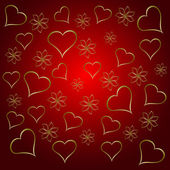A gold hearts valentines day background — Stock Vector