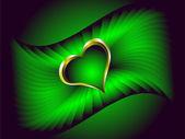 Eine valentinstag-vektor-illustration mit einem goldenen herzen — Stockvektor