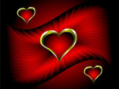 A vector valentines background with gold hearts — Stock Vector