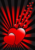 A red hearts vector valentines day background — Cтоковый вектор