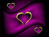Sfondo san valentino cuori viola e oro — Vettoriale Stock