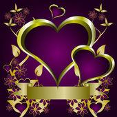 Fondo de san valentín corazones púrpura — Vector de stock