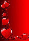 A red Valentines hearts vector background — Vettoriale Stock
