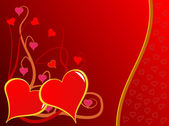 A red Valentines hearts vector background — Vecteur