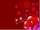 A red Valentines hearts vector background — Cтоковый вектор