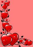 Um plano de fundo vector vermelho valentines corações — Vetorial Stock