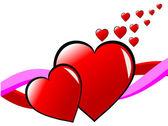 Isoler une illustration vectorielle de valentin avec deux coeurs rouges — Vecteur