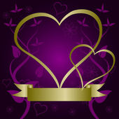 A purple and gold Valentines vector background — Stock Vector