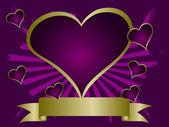パープル ハート バレンタイン背景 — ストックベクタ