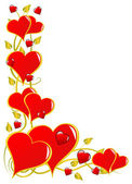 Un fondo rojo de san valentín corazones vector — Vector de stock