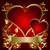 A red and gold Valentines vector background — Wektor stockowy