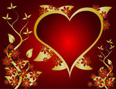 Kırmızı ve altın sevgililer vektör arka plan — Stok Vektör