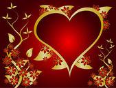 Sfondo vettoriale san valentino rosso e oro — Vettoriale Stock