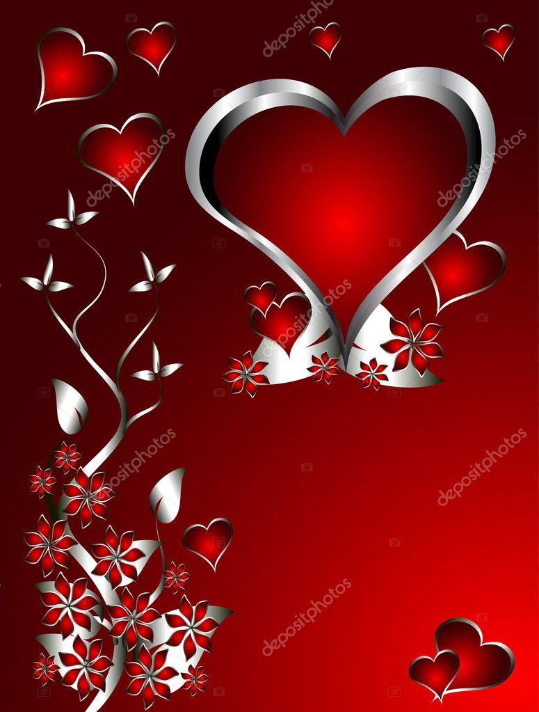 A red hearts Valentines Day Background with silver hearts and flowers on a red graduatedl background — Stock Vector #4420330