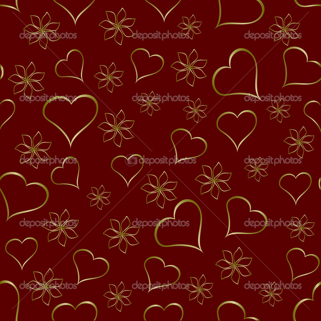 A gold hearts seamless valentines day background which can be tiled — Stock Vector #4420349