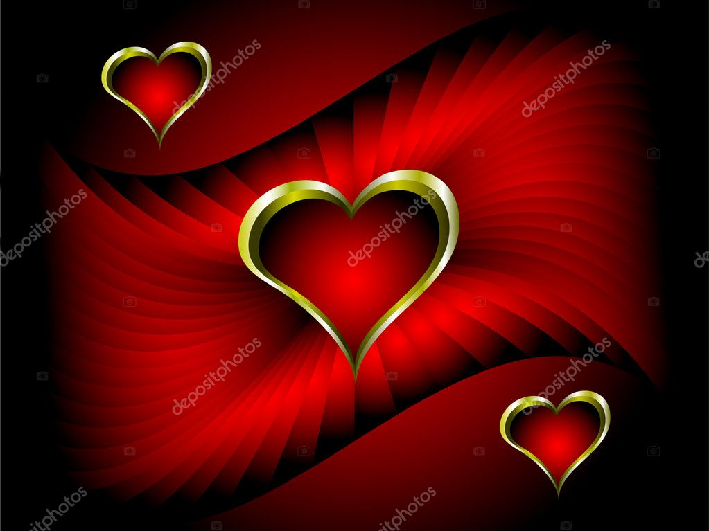 A vector valentines background with gold hearts on a deep red backdrop with room for text  Stock Vector #4420365