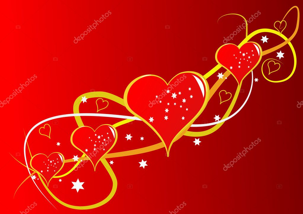 A vector background with a series of red hearts on a red graduated backdrop with room for text — Stock Vector #4423760