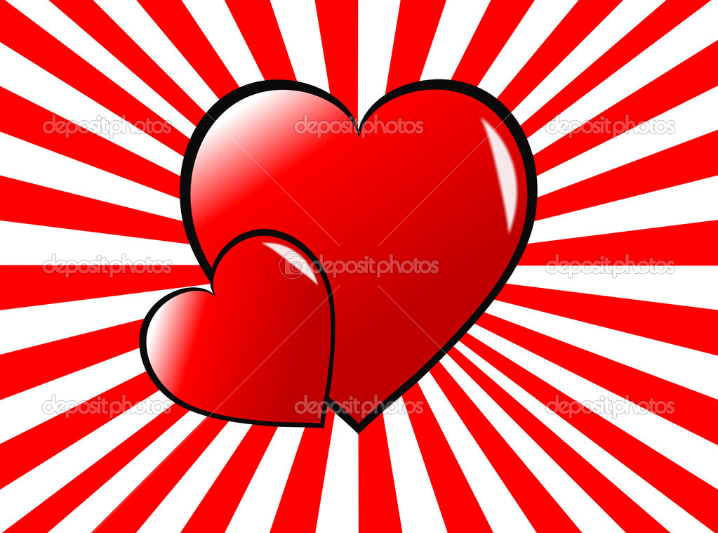 A valentines day vector illustration with  large red hearts on red and white sunburst background — Stock Vector #4423778