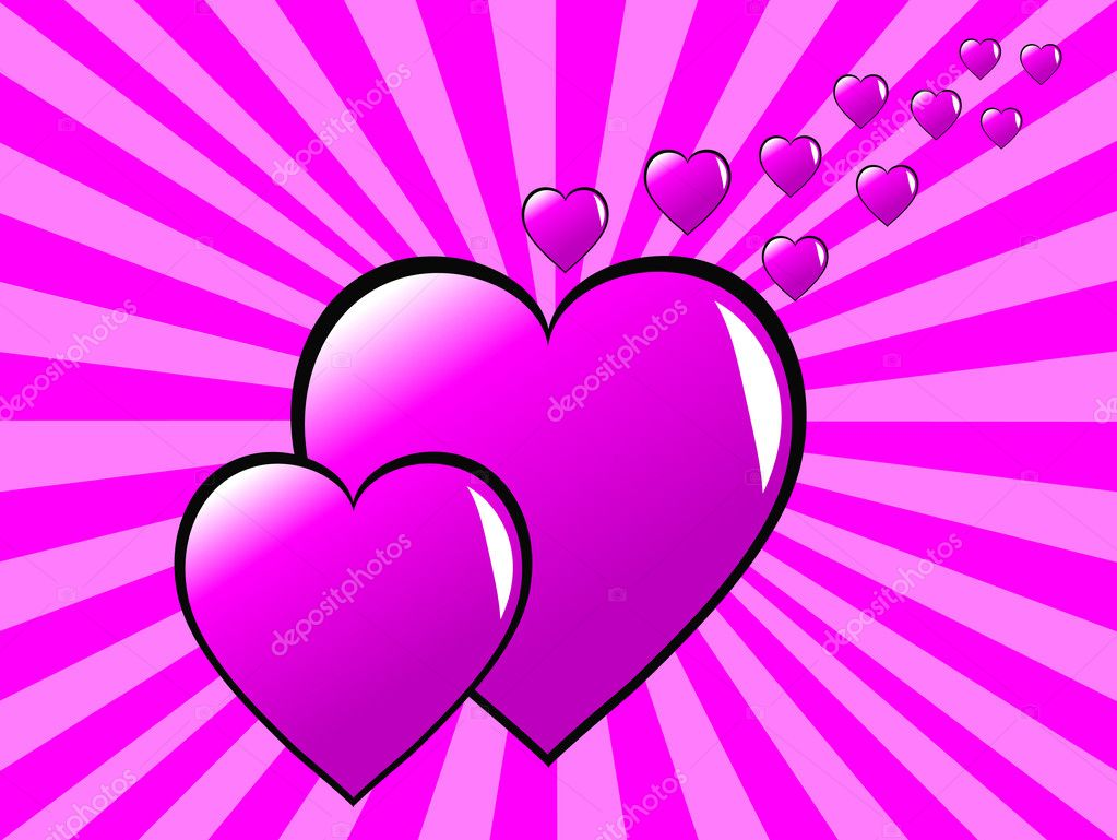 Two pink hearts on a two tone sunburst effect pink background — Stock Vector #4423779