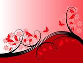 Een rode bloemen vectorillustratie — Stockvector
