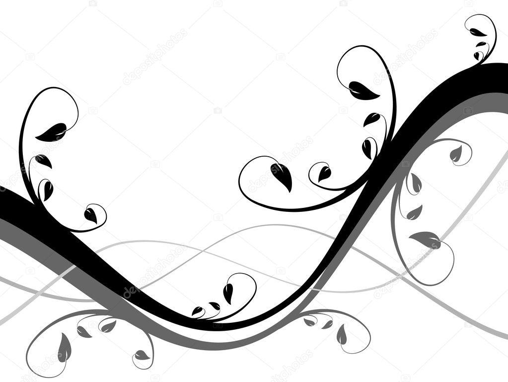 Astratto Sfondo Pallavolo Disegno Vettoriale: Un Astratto Sfondo Floreale Bianco E Nero